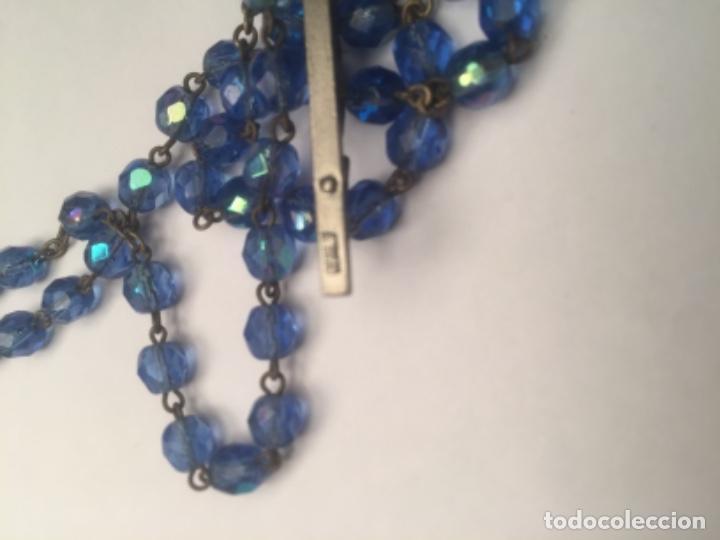Antigüedades: Rosario Vaticano cuentas cristal Azules cara Virgen y Jesucristo - Foto 8 - 158545998