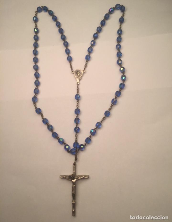 Antigüedades: Rosario Vaticano cuentas cristal Azules cara Virgen y Jesucristo - Foto 9 - 158545998