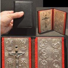 Antigüedades: ANTIGUO VÍA CRUCIS DE BOLSILLO CON CARTERA EN PIEL. Lote 158550558