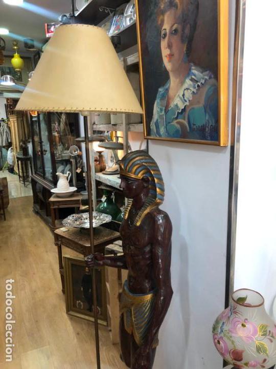 Antigüedades: FANTASTICA LAMPARA BLACKAMOOR VENECIANA TALLA MADERA - AÑOS 50 - MEDIDA TOTAL 190CM, FIGURA 148 CM - Foto 9 - 158561754