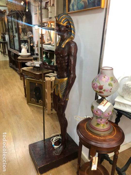 Antigüedades: FANTASTICA LAMPARA BLACKAMOOR VENECIANA TALLA MADERA - AÑOS 50 - MEDIDA TOTAL 190CM, FIGURA 148 CM - Foto 10 - 158561754