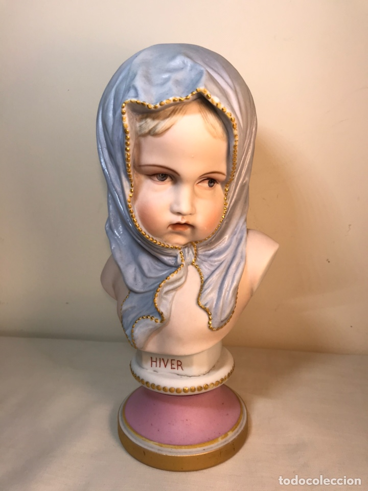 Antigüedades: Figura Porcelana-Francia-Vion & Baury- Busto: Hiver (Invierno)- 25 cm. - Foto 25 - 158562224
