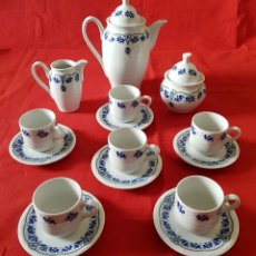 Antigüedades: JUEGO CAFE PORCELANAS DEL PRINCIPADO, Mº CLARIN VETUSTA, 6 SERVICIOS, NUEVO. Lote 158598442