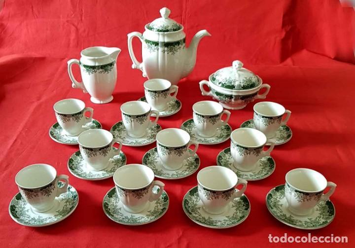 JUEGO CAFE LA CARTUJA PICKMAN, Mª IMPERIO VERDE, 12 SERVICIOS, NUEVO (Antigüedades - Porcelanas y Cerámicas - La Cartuja Pickman)