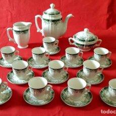 Antigüedades: JUEGO CAFE LA CARTUJA PICKMAN, Mª IMPERIO VERDE, 12 SERVICIOS, NUEVO. Lote 158602822