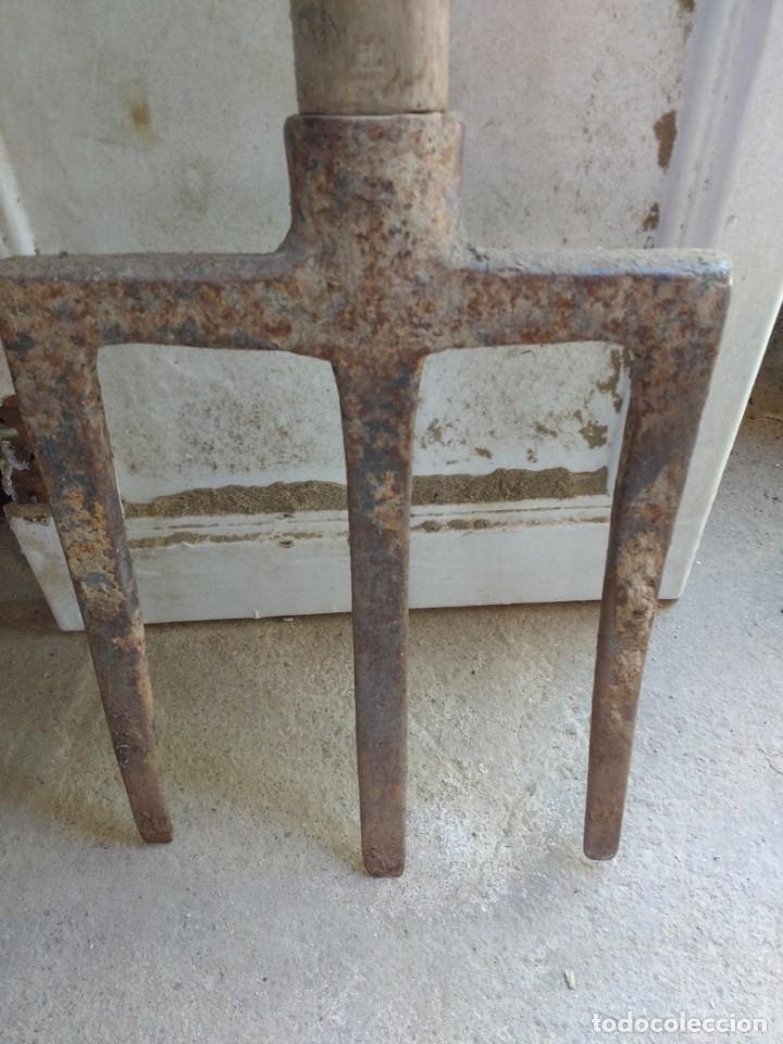 Antigüedades: Antiguo tridente u forca para arar la tierra a mano - Foto 3 - 158604394