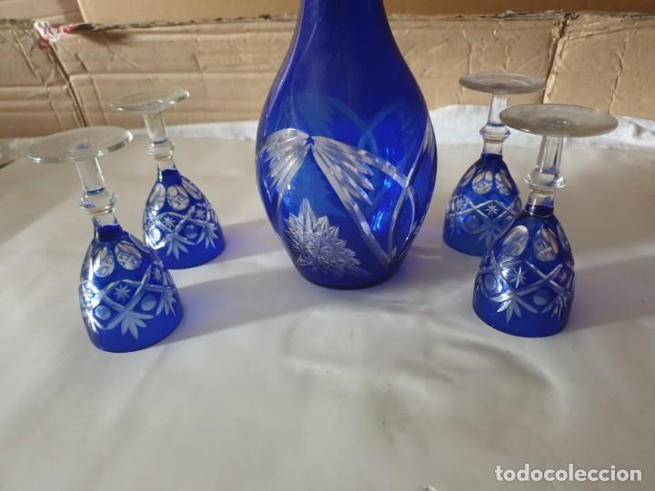 Antigüedades: Juego 4 copas y botella licorera - Foto 5 - 158652938