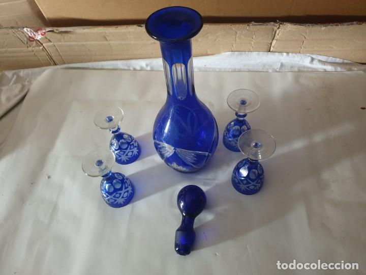 Antigüedades: Juego 4 copas y botella licorera - Foto 6 - 158652938