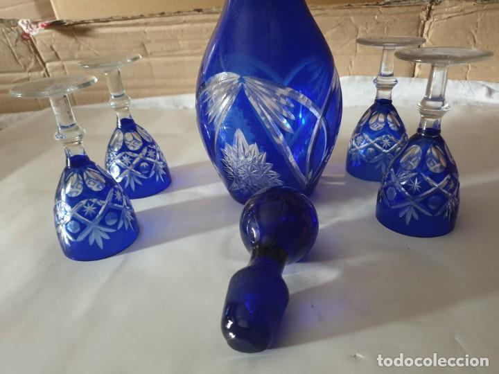 Antigüedades: Juego 4 copas y botella licorera - Foto 7 - 158652938