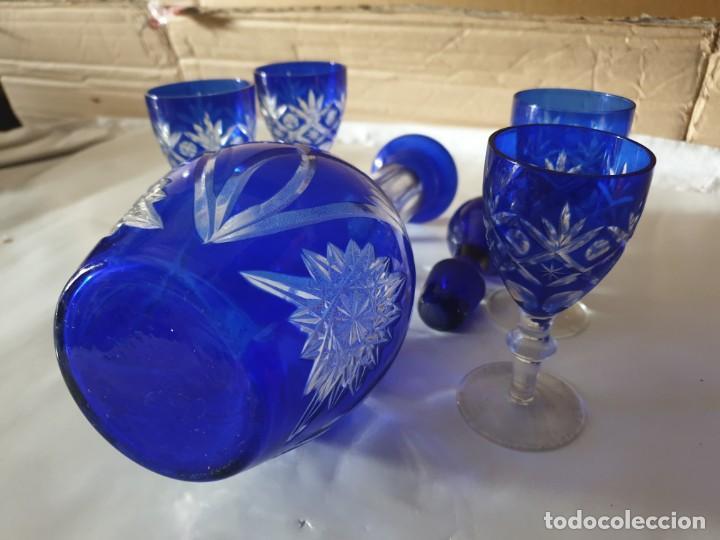 Antigüedades: Juego 4 copas y botella licorera - Foto 9 - 158652938