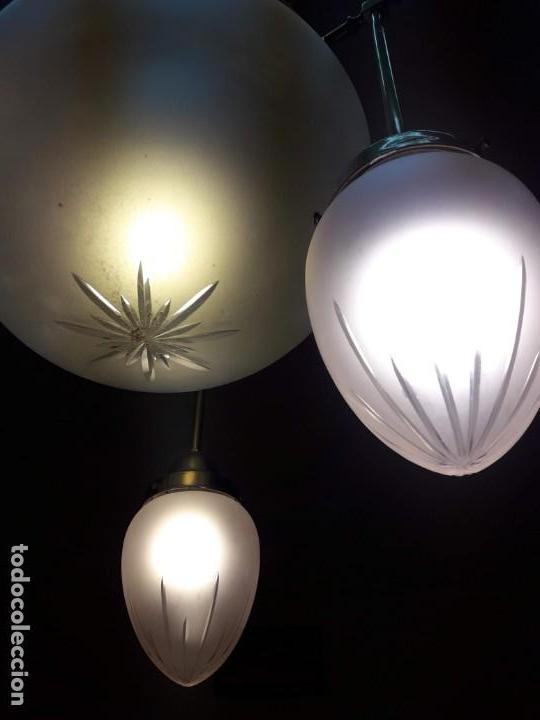 Antigüedades: lámpara Art Nouveau con cristal tallado - Foto 2 - 158656030
