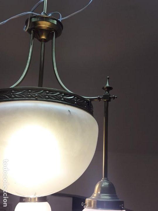 Antigüedades: lámpara Art Nouveau con cristal tallado - Foto 3 - 158656030