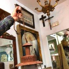 Antigüedades: ANTIGUA LAMPARA FAROL INDUSTRIAL TIPO DE BARCO CON MEDIDA SIN CADENA DE 42X26 CM. Lote 158671362