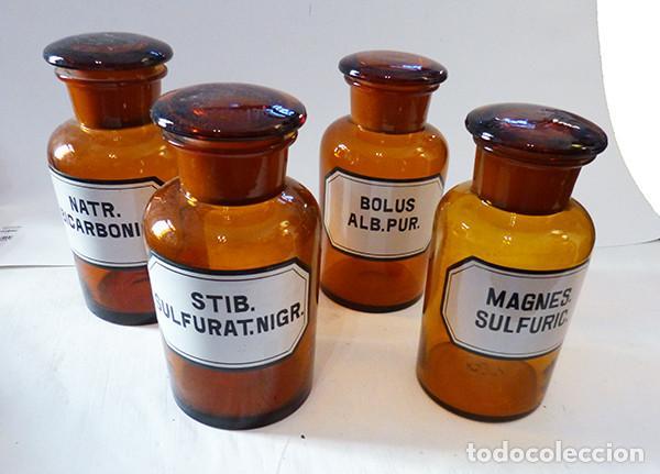 4 BOTES DE FARMACIA DE CRISTAL (Antigüedades - Cristal y Vidrio - Farmacia )