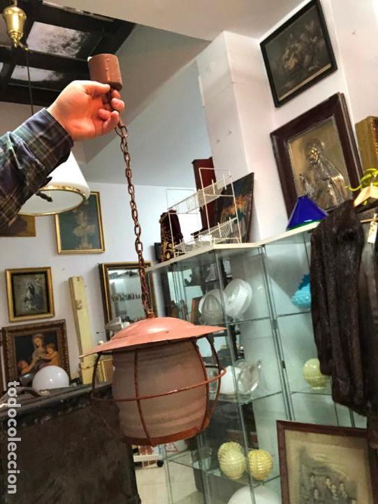 ANTIGUA LAMPARA FAROL INDUSTRIAL TIPO DE BARCO CON MEDIDA SIN CADENA DE 27X18 CM (Antigüedades - Iluminación - Faroles Antiguos)