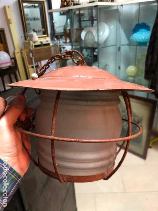 Antigüedades: ANTIGUA LAMPARA FAROL INDUSTRIAL TIPO DE BARCO CON MEDIDA SIN CADENA DE 27X18 CM - Foto 5 - 158672138