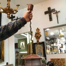 Antigüedades: ANTIGUA LAMPARA FAROL INDUSTRIAL TIPO DE BARCO CON MEDIDA SIN CADENA DE 27X18 CM. Lote 158672230