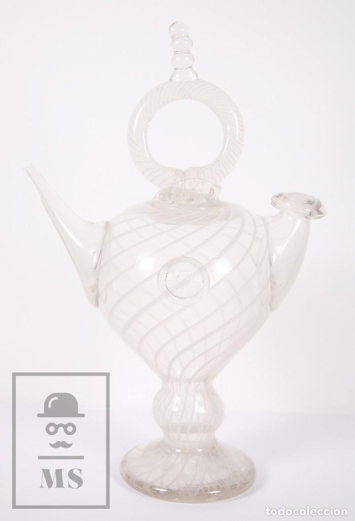 Antigüedades: Botijo de Vidrio Soplado Artesanal - Sello Argentona, 1985 - Leve Tono Gris con Líneas Blancas - Foto 13 - 158680022