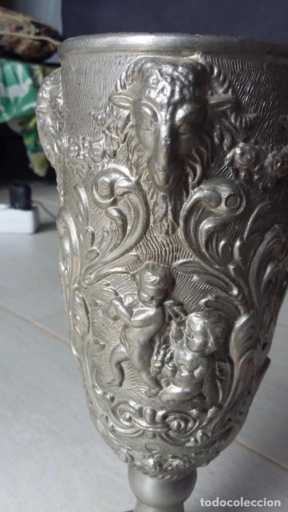 Antigüedades: copa cáliz Italiana de peltrato - Foto 3 - 158680646