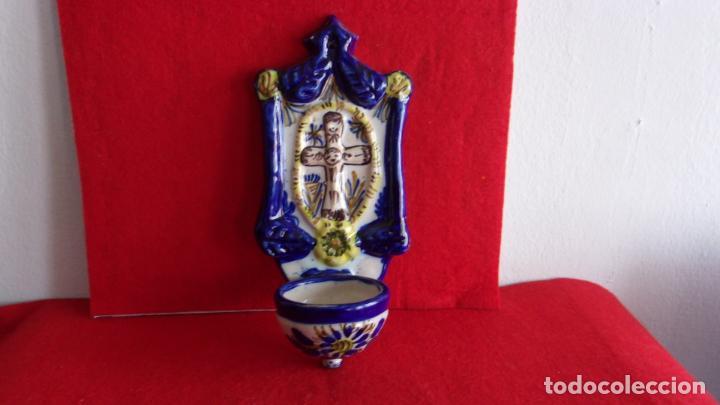 Antigüedades: bonita benditera ceramica,talavera? - Foto 5 - 158719370