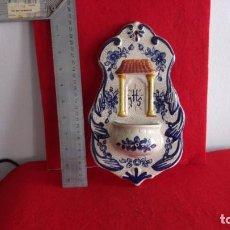 Antigüedades: BONITA BENDITERA,CERAMICA,BUEN ESTADO,UNOS 26 CM ALTURA. Lote 158720834