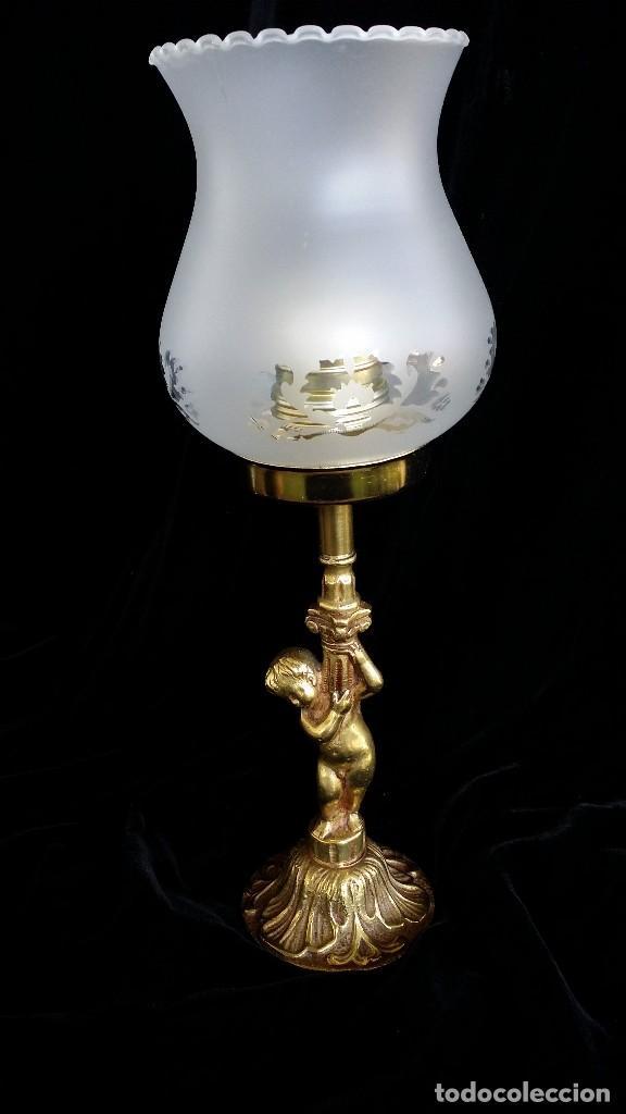 LÁMPARA DE MESA, BRONCE, MUY VINTAGE (Antigüedades - Iluminación - Lámparas Antiguas)