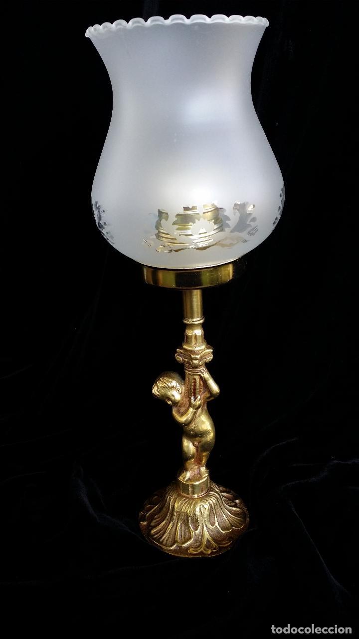 Antigüedades: Lámpara de mesa, bronce, muy vintage - Foto 3 - 158784074