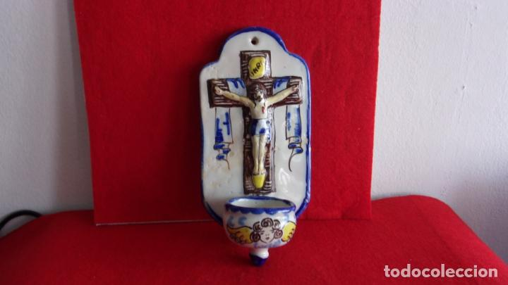 Antigüedades: benditera ceramica,Talavera,buen tamaño - Foto 4 - 158790746