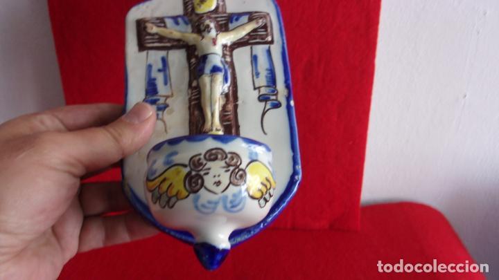 Antigüedades: benditera ceramica,Talavera,buen tamaño - Foto 6 - 158790746