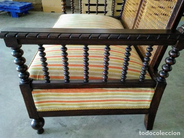 Antigüedades: Tresillo-Sillón o sofá antiguo castellano - Foto 4 - 158818338