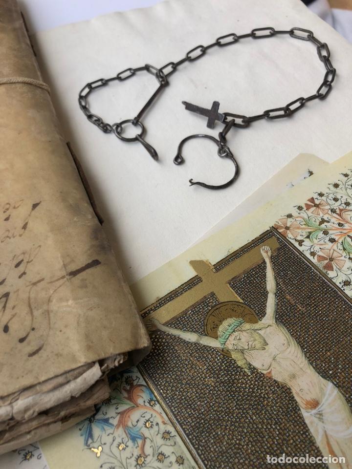Antigüedades: Antigua cadena de forja con cruz - Foto 19 - 158873504