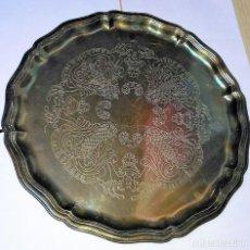 Antigüedades: BANDEJA DE METAL BAÑADO EN PLATA DE 36 CM DIÁMETRO. Lote 158898342
