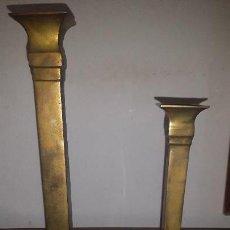Antigüedades: PAREJA CANDELABROS DE METAL. Lote 158920006