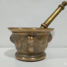 Antigüedades: ANTIGUO ALMIREZ O MORTERO DE BRONCE CON SU MANO ORIGINAL. Lote 158943758