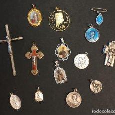 Antigüedades: LOTE DE 14 MEDALLAS Y CRUCIFIJOS. Lote 158962722