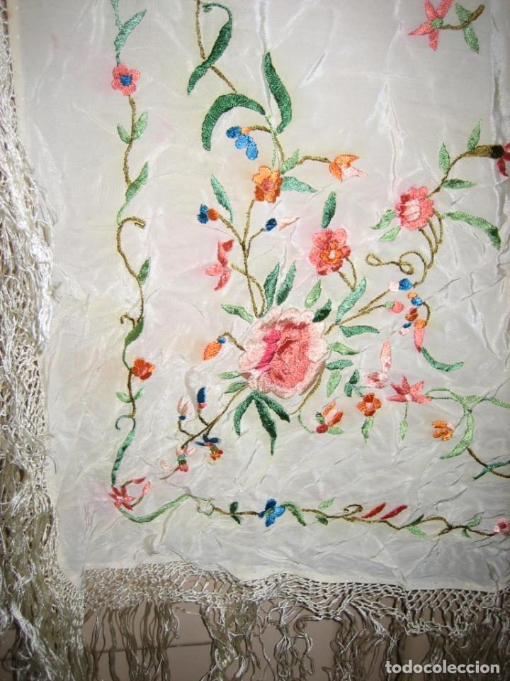 Antigüedades: Antiguo mantón bordado a mano - Foto 6 - 158969806