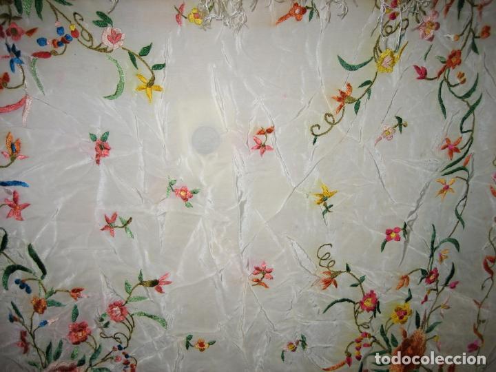 Antigüedades: Antiguo mantón bordado a mano - Foto 9 - 158969806