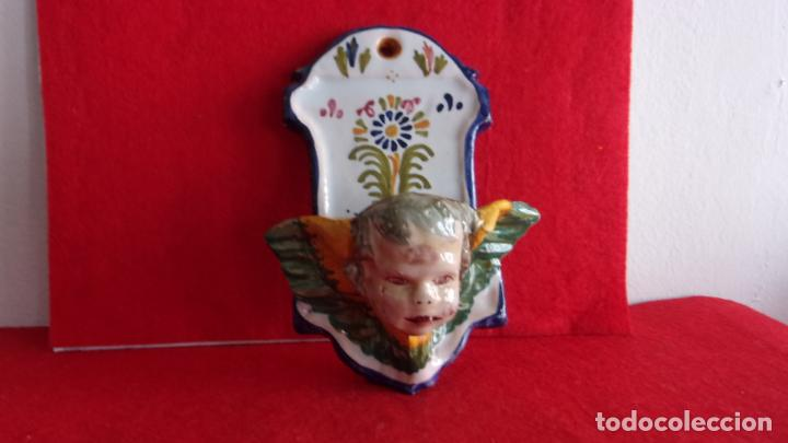 Antigüedades: benditera,ceramica Talavera,cara angel - Foto 2 - 158977458