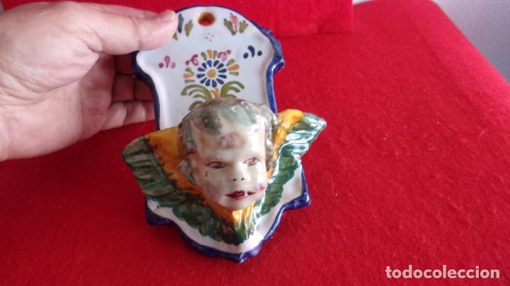 Antigüedades: benditera,ceramica Talavera,cara angel - Foto 3 - 158977458