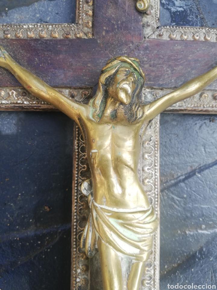 CRISTO METAL Y MADERA 40 CM (Antigüedades - Religiosas - Crucifijos Antiguos)