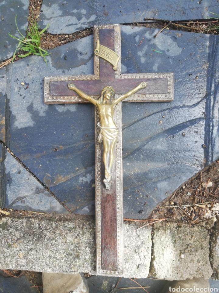 Antigüedades: Cristo metal y madera 40 cm - Foto 2 - 159038354