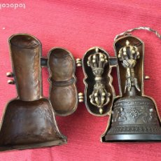 Antigüedades: CAMPANA TIBETANA CON DORJE. Lote 159038532