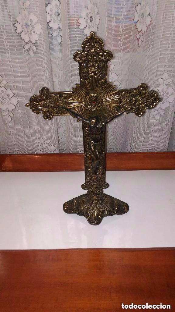 Antigüedades: crucifijo de bronce - Foto 3 - 159049250