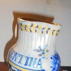 Antigüedades: ANTIGUA JARRA DE TRIANA S. XIX CON EL NOMBRE DE FLORENTINA GREGORIA CON IMAGEN DE LA VIRGEN . Lote 159050978