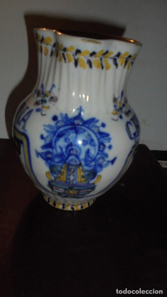 Antigüedades: ANTIGUA JARRA DE TRIANA S. XIX CON EL NOMBRE DE FLORENTINA GREGORIA CON IMAGEN DE LA VIRGEN - Foto 3 - 159050978