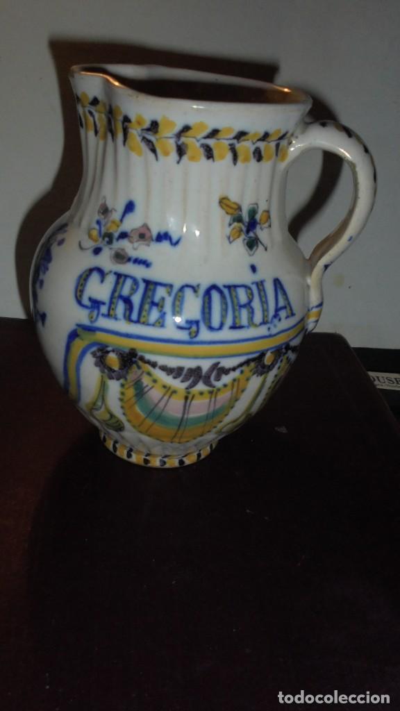 Antigüedades: ANTIGUA JARRA DE TRIANA S. XIX CON EL NOMBRE DE FLORENTINA GREGORIA CON IMAGEN DE LA VIRGEN - Foto 4 - 159050978