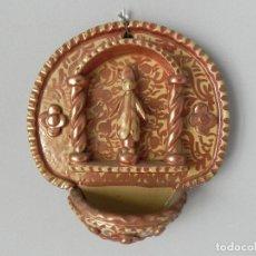Antigüedades: ** ANTIGUA PILA BENDITERA CERÁMICA DE REFLEJOS - MANISES - DE COLECCIÓN **. Lote 159066210