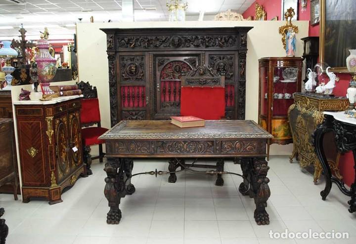 Antigüedades: DESPACHO ANTIGUO TALLADO ESTILO RENACIMIENTO ESPAÑOL - Foto 4 - 159104714