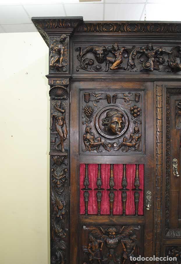 Antigüedades: DESPACHO ANTIGUO TALLADO ESTILO RENACIMIENTO ESPAÑOL - Foto 9 - 159104714