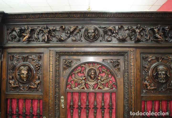 Antigüedades: DESPACHO ANTIGUO TALLADO ESTILO RENACIMIENTO ESPAÑOL - Foto 10 - 159104714